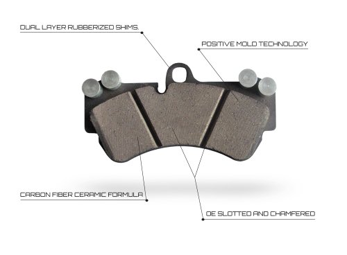 """2012 Dodge Charger R/T ; SXT 3.5L ; 5 7L With 12 6"""" Vented Rear Rotors Approved Performance C1774P - [Rear] Set of Carbon Fiber Impregnated Brake Pads"""