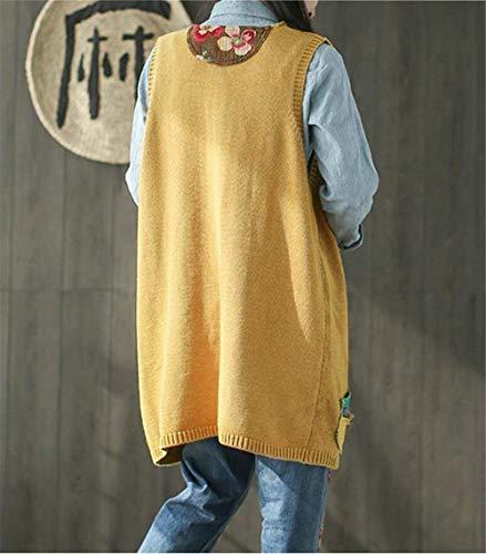 De V Adelina Vintage Otoño Amarillo Retro Casuales Primavera Chaleco cuello Cazadoras Sleeveless Fashion Outwear Abrigos Relaxed Mujer Patchwork Elegante Largos qwrqZ0