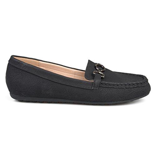 Brinley Co Dames Elisha Kunstleer Comfort-zool Ketting Accentuerende Loafers Zwart