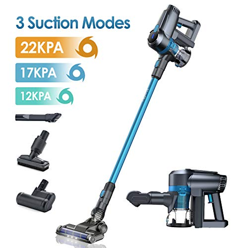 Homtiky Cordless Vacuum Cleaner, 22Kpa Powerful Suction 3 Speeds 5 in 1 Cordless Stick Vacuum, LED Brush 40 mins Rechargeable Battery Handheld Stick Vacuum for Home, Hard Floor, Carpet, Pet Hair