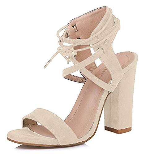 MayBest Womens Spring Summer Chunky Heel Sandals Peep Toe Shoes Lace Up Party Beach Sandals Beige 10 B (M) US