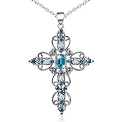 Silver Cross Faith Pendant Necklace Crys...