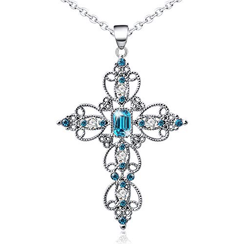 "Silver Cross Faith Pendant Necklace Crystal Christian Religous Jewelry for Women Girls Stainless Steel Chain 18"" with 2"" Extension (A_Blue)"