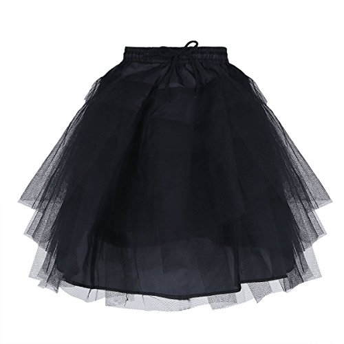 TiaoBug Kids Flower Girls 3 Layers Net Pageant Evening Wedding Dress Underskirt Crinoline Slip Bridesmaid Skirt Petticoat Black One Size ()
