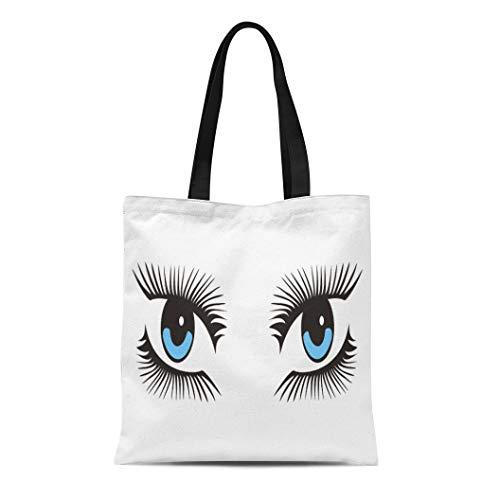 (Semtomn Cotton Canvas Tote Bag Blue Abstract Green Eye Long Lashes Beautiful Beauty Body Reusable Shoulder Grocery Shopping Bags Handbag Printed)