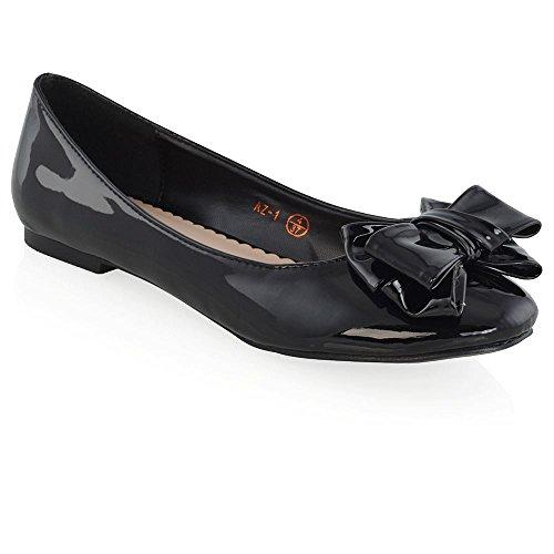 Patent Ballerina Pumps (ESSEX GLAM Women's Black Patent Slip On Bow Detail Flat Ballerina Pumps 10 B(M) US)