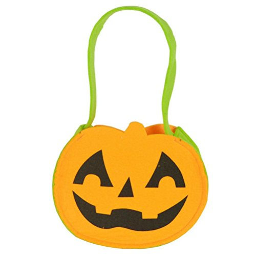 Creative Cute Halloween Costumes College (Elevin(TM) Children Kids Halloween Pumpkin Bag Candy Bucket Handbag Trick or Treat Bag (17X15cm))