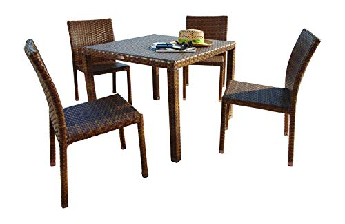 Panama Jack Outdoor 5-Piece St Barths Side Chair Dining Set, Includes 4 Side Chairs and 36-Inch Square Woven Table