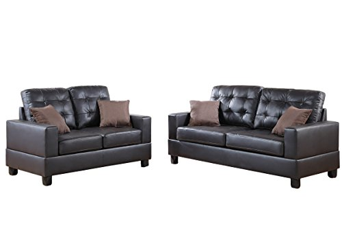 Poundex F7857 Bobkona Aria Faux Leather 2 Piece Sofa and Loveseat Set, Espresso (And Sofa Furniture Loveseat Set Leather)