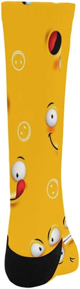Cheerful Smile Facial Expression Emoji Crazy Dress trouser Sock For Men Women