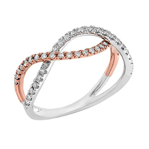 (14k Two Tone Gold 0.40 TCW Round Cut Natural Diamond Twisted Designer Band Ring 5.5)