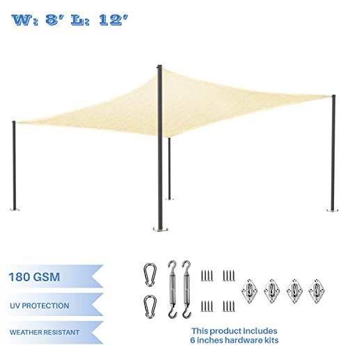 "E&K Sunrise 8' x 12' Beige Sun Shade sail with 6"" Stainless Steel Hardware Kit Square Canopy - Permeable UV Block Fabric Durable Patio Outdoor Set of (Pergola Deck Kit)"