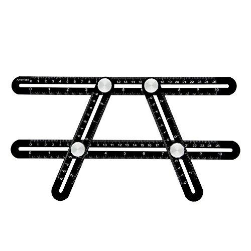 Amenitee Universal Angularizer Ruler - Full Metal Multi Angle Measuring Tool-Ultimate  Template Tool-Upgraded Aluminum Alloy Multi Functional Ruler(Black) (Flooring Patio Brick)