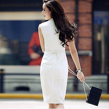 PU&PU Robe Aux femmes Moulante Sexy,Couleur Pleine V Profond Mi-long Lin / Polyester , white , m