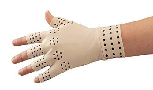 (Arthritis Relief Support Glove with Magnetic Therapy/ Gloves for arthritic hands/Therapeutic gloves/Fingerless arthritis gloves (Beige,Medium))