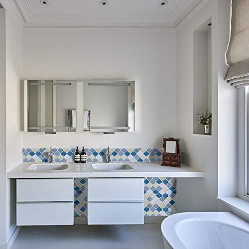 Peel and Stick Tile Backsplash for Kitchen Bathroom,Teal Arabesque Tile Backsplash,Mosaic Backsplash Sticker (8 Tiles) by HUE DECORATION (Image #3)