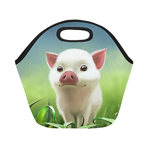 InterestPrint Cute Pig Animal Reusable Insulated Neoprene Lunch Tote Bag Cooler 11.93