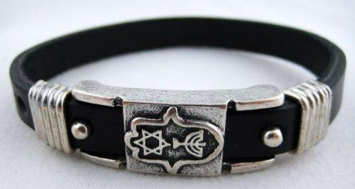 Menorah + Hamsa + Star of David Leather Bracelet - Silver Plated Magen David Menorah