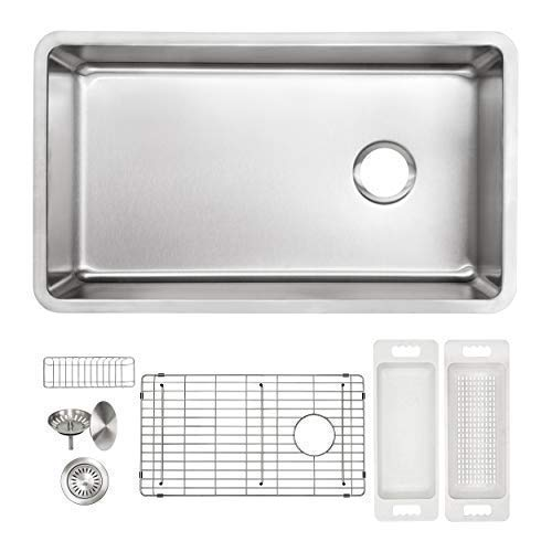 - ZUHNE Verona 32 x 19 Inch Single Bowl Under Mount Reversible Offset Drain 16 Gauge Stainless Steel Kitchen Sink W. Grate Protector, Caddy, Colander Set, Drain Strainer and Mounting Clips, 36