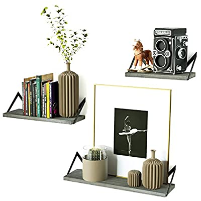 RooLee Floating Shelves Wall Mounted Set of 3 Rustic Wood Shelves for Perfect Decor of Any Room (Weathered Grey) - RUSTIC FLOATING SHELVES - Feature a retro design through the combination of weathered grey wood and industrial metal brackets; Perfect for highlighting your living room or office by displaying decorative items. 【Plant, books and other decorative items NOT included】 SPACE-SAVING WALL SHELVES - Reduce clutter of your room by elegantly organizing your books, vases, family pictures, and other trinkets on the floating shelves. FUNCTIONAL WOOD SHELVES - Group the three wall mount shelves together or hang separately in the bedroom or bathroom to hold beauty products, exhibit family photos in a gallery style in the hallway, or showcase near the fireplace, wall corner, or in the kitchen to hold spices and jars. - wall-shelves, living-room-furniture, living-room - 41%2BhLMwSEDL. SS400  -