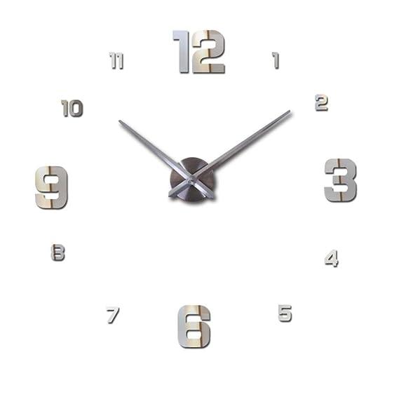 Amazon.com: BiBaBoMax Special Large DIY Quartz 3D Wall Clock Living Room Big Acrylic Watch Mirror Stickers Modern Design Home Decor Wall Sticker (47inch ...
