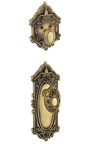 Grandeur Grande Victorian Plate with Grande Victorian Knob and Matching Deadbolt Complete Single Cylinder Combo Pack Set, Vintage Brass