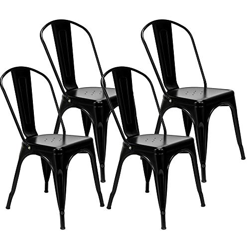 Adumly Set of 4 Patio Club Chairs Outdoor Patio Dining Chairs Metal Chairs Color Black