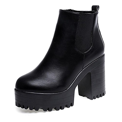 Jamicy Women High Platform Boots Fashion Ladies Square Heel Leather Boots Shoes Black