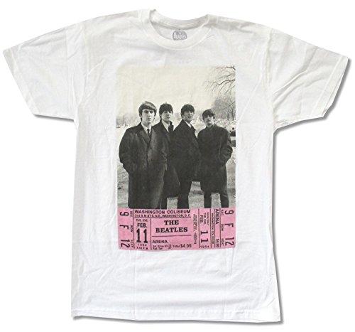 Adult The Beatles  D C  Ticket  White T Shirt  Medium