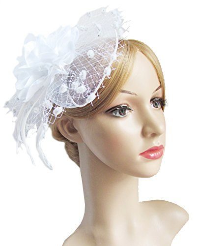 Fascinators Hats for Womens 50s Headwear with Veil Flower Cocktail Tea Party Headwear(A-White)