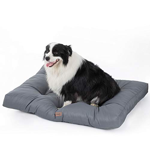 Petsure Extra Large Dog Bed (44x35x4 inches) for Dogs & Cats - Water-Resistant Oxford Fabric Dog Mattress - Ideal for Cars, Dog Crate Or Elevated Dog Bed, Dog Bed Trampoline - Grey
