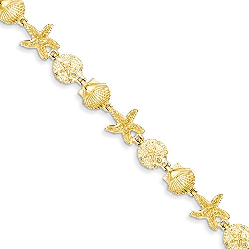 14k Yellow Gold Sea Shell Mermaid Nautical Jewelry Theme Bracelet 7.5 Inch Seashore Fine Jewelry Gifts For Women For Her