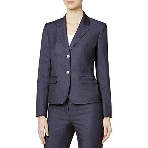 Nine West Women's Polished Denim 2 Button Jacket, Navy, 10 -