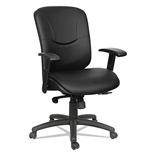 Alera Eon Series Mid-Back Leather Synchro with Seat Slide Chair, Black