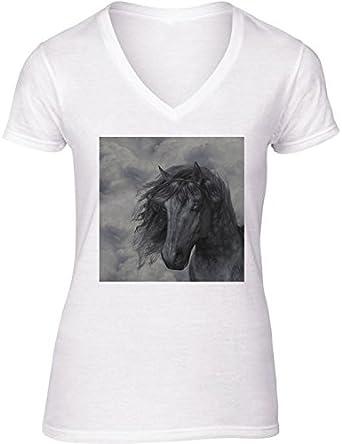 Camiseta Blanca con V-Cuello para Mujer - Tamaño XL - Caballo Negro by Gatterwe: Amazon.es: Ropa y accesorios