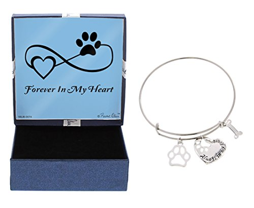 (Rescue Dog Bracelet Rescue Cat Silver-Tone Forever in My Heart Paw Print Bangle Bracelet Jewelry Box Keepsake Gift Dog Lover Gifts Bracelet Pet Dog Memorial Gift Cat Memorial Gift)