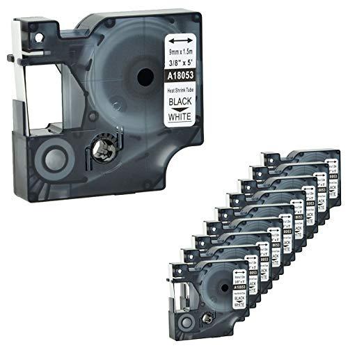(Nineleaf 10 PK Compatible for DYMO 18053 Rhino Heat Shrink Tube Industry Label Tape 3/8
