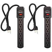 AmazonBasics 6-Outlet Surge Protector Power Strip 2-Pack, 2-Foot Long Cord, 200 Joule - Black