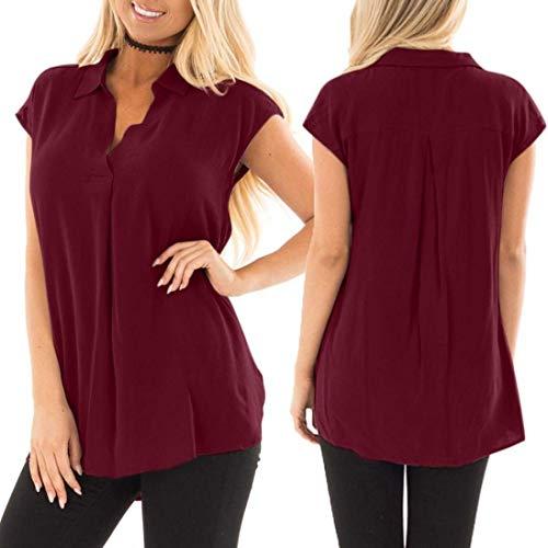 Dcontract Fashion Blouse Chemise Large Rouge Uni Spcial Shirt Grande Confortable Revers Taille Blouse Manches Manche Elgante Mousseline Et Tops Chemisier Courtes Style Femme 5wRfwqn6