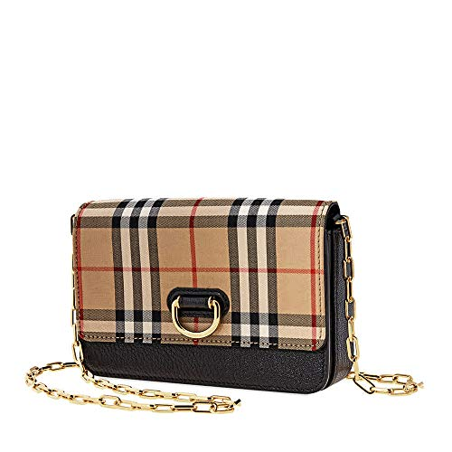 Burberry Mini Vintage Check and Leather D-ring Bag- Black Burberry Cross Body Bag