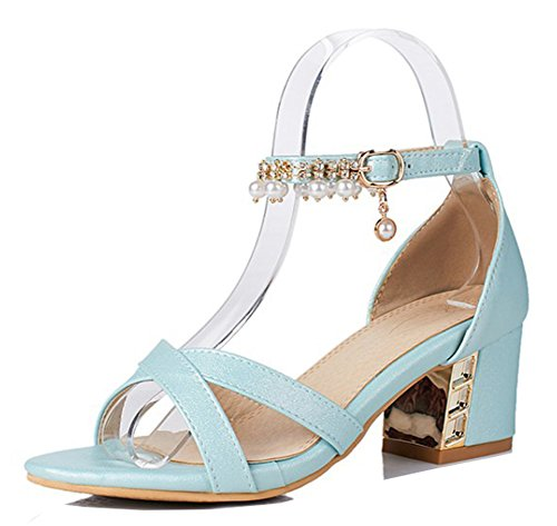 Aisun Kvinna Mode Pärlstav Rhinestone Dressat Buckmedel Blocket Häl Öppen Tå Sandaler Med Ankelbandet Blå