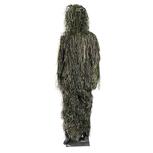 OUTERDO Woodland and Forest Design Ghillie Suit Military Leaf Hunting Camo Tactical Camouflage Clothing Ghillie Suit Free Size for Hunting, Shooting, Airsoft, Wildlife Photography Halloween and so on.