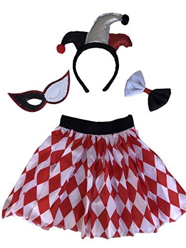Jester Girls Halloween Party Fancy Dress Harlequin Skirt,