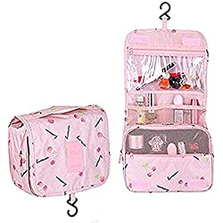 Multifunction Toiletry Cosmetic Bag Make up Kit Case Pouch Hanging Shaving Hook Travel Vacation Bathroom Organizer Carry On(Pink Cherry)