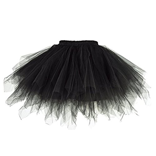 Oudan Femme Tutu Jupe Ballet Jupon Mariage Jupe Courte Style Annes 50 Couleurs Varie pour Femme et Filles Noir