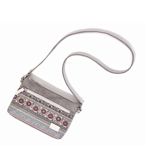 Canvas Bags Boho Printing Handbag Red Shoulder Bag Crossbody Gray Messenger Fashion Women JAGENIE Wine Light Hqw08x