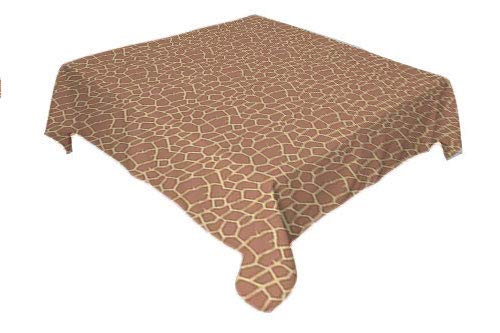 Flyerer Safari Table Cover Ikat Style Inspired Coffee Tones of Giraffe Skin Animal Print Pattern Warm Taupe and Beige Printed Tablecloth Square Tablecloth 60 by 60 inch