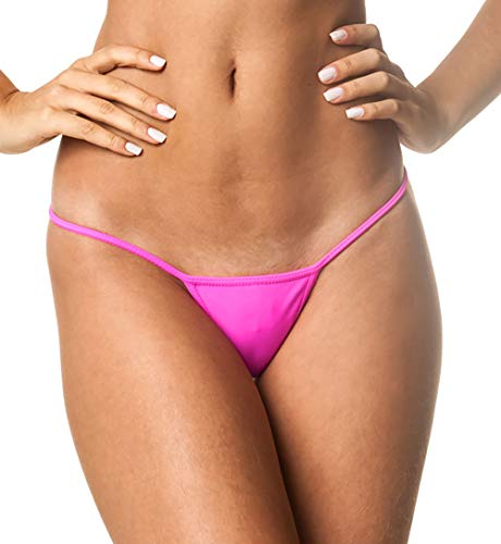 THE MESH KING Coqueta Brazilian Teeny Micro Thong Mini Bikini Swimsuit G String HOT Pink-Large - Hot Pink G-string