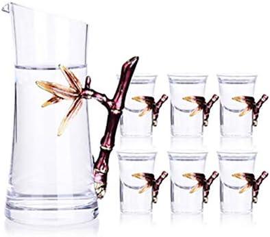 Decantador Juego De Vasos De Whisky Caja DE Vino CABALLA Color DE ESAMBRE Color Cubierta DE LACTOR DE LA Baja DE LA BAQUETA Bamboo Siete sabios Liquor Set de Licor Conjunto de Regalo de Vino
