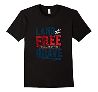 Mens 4th of July T-Shirt - Land of the Free Because of the Brave 2XL Black